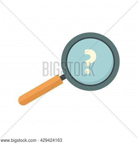 Question Magnifier Icon. Flat Illustration Of Question Magnifier Vector Icon Isolated On White Backg