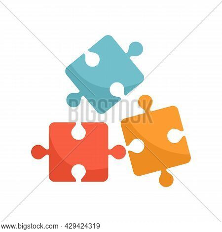 Life Skills Puzzle Icon. Flat Illustration Of Life Skills Puzzle Vector Icon Isolated On White Backg