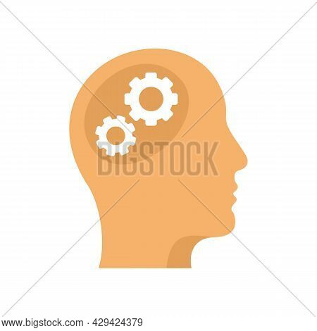 Gear Mind Icon. Flat Illustration Of Gear Mind Vector Icon Isolated On White Background