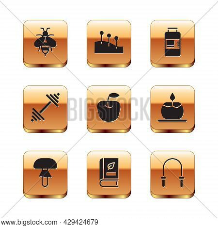 Set Bee, Mushroom, Medical Book, Apple, Dumbbell, Collagen Serum, Jump Rope And Acupuncture Therapy