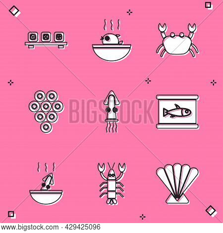 Set Sushi On Cutting Board, Puffer Fish Soup, Crab, Caviar, Octopus, Canned, Soup With Octopus And L