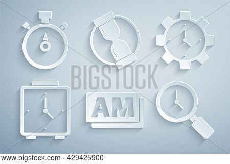 Set Clock Am, Time Management, Alarm Clock, Magnifying Glass With, Old Hourglass And Stopwatch Icon.