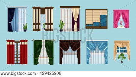 Set Of Curtains: Classic, French, Roman, Blinds. House Window And Windowsills Decor Design With Clas