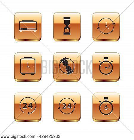 Set Digital Alarm Clock, Clock 24 Hours, Old Hourglass, Alarm, Stopwatch And Icon. Vector