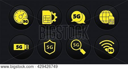 Set 5g Modem, Globe Sim Card, Protective Shield, Search Network, Card Setting, And Digital Speed Met