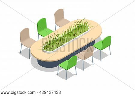 Isometric Conference Table Covered With Grass. Table With Greenery Decoration In The Center