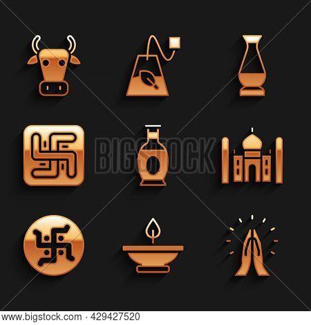 Set Indian Vase, Aroma Lamp, Hands In Praying Position, Taj Mahal, Hindu Swastika, And Cow Icon. Vec