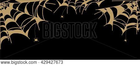 Golden Spider Web Isolated On Black Background. Banner Spooky Spider Web For Halloween Decoration.