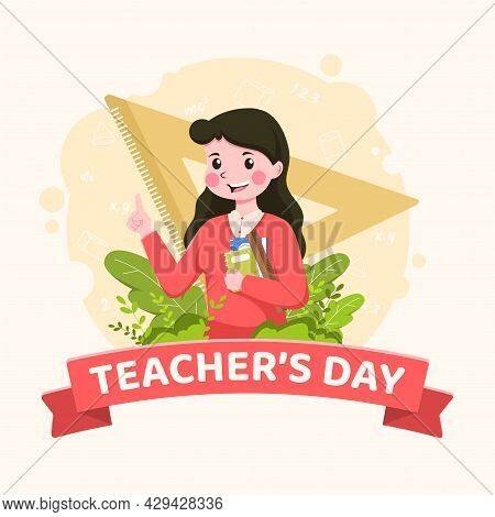 Happy Teacher's Day Poster Background Concept. Pretty Woman Teacher Explaining Gestures With Beautif
