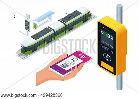 Isometric City Tram With Electronic Ticket Validation Machine. Woman Paying Conctactless With Smartp