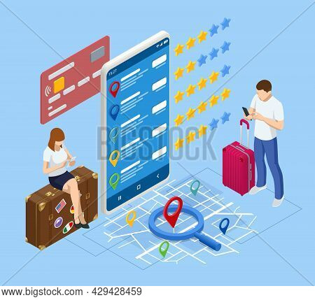 Isometric Tourists Choosing Hotel And Booking Room Online. Hotel Search, Booking Online, Apartment R