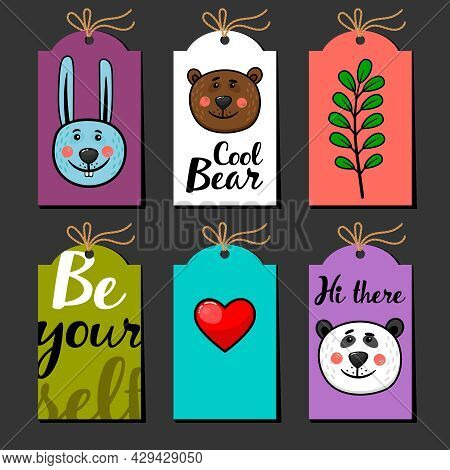 Collection Of Labels With Rabbit, Panda, Bear And Heart