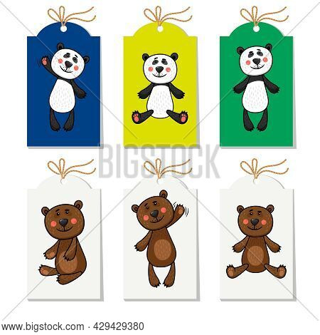 Collection Of Labels With Panda And Bear