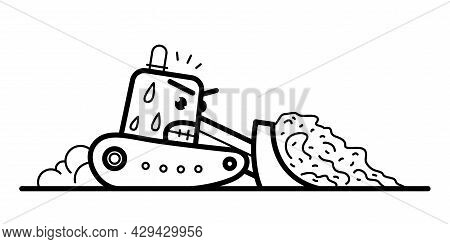 Bulldozer With Facial Expression Of Hard Work And Anger Vector Cartoon Style Icon Isolated On White