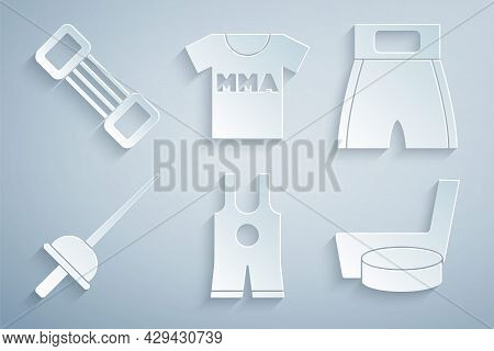 Set Wrestling Singlet, Boxing Short, Fencing, Ice Hockey Stick And Puck, T-shirt With Fight Club Mma