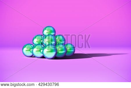 Chrome Metal Balls In Pyramid Stack With Abstract Calm And Relaxing Background