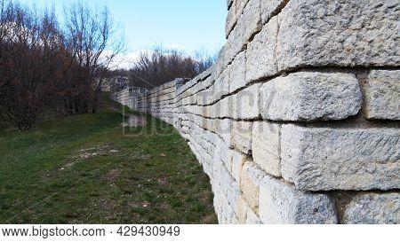 Ancient Brick Fortress Wall In Madara Bulgaria