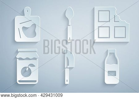 Set Knife, Chocolate Bar, Jam Jar, Bottle With Milk, Spoon And Cutting Board Icon. Vector