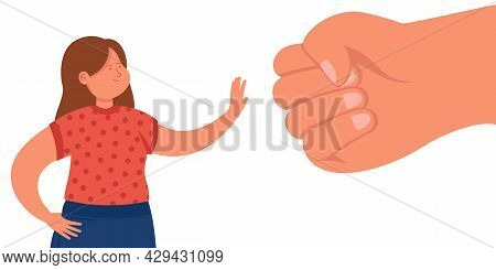 Tiny Cartoon Woman Protesting Against Giant Fist. Flat Vector Illustration. Girl Fighting Back Domes