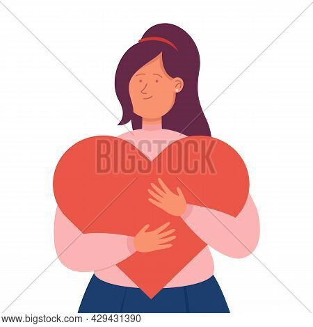 Young Cartoon Woman Hugging Giant Red Heart. Flat Vector Illustration. Happy Girl Smiling, Embracing