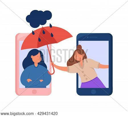 Happy Woman Supporting Sad By Phone Or Video Connection. Flat Vector Illustration. Friend Or Psychol