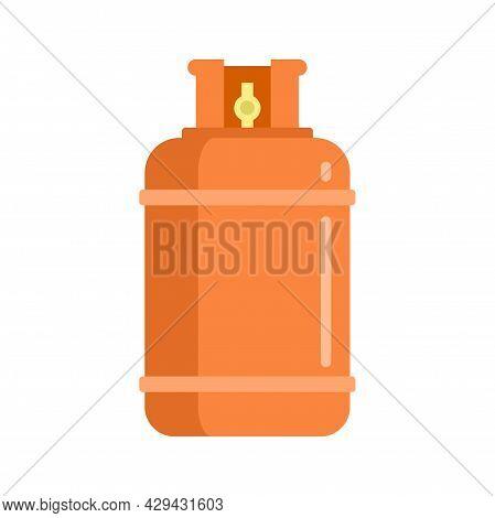 Gas Cylinder Bottle Icon. Flat Illustration Of Gas Cylinder Bottle Vector Icon Isolated On White Bac