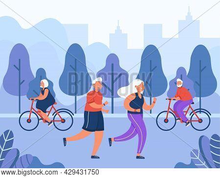 Happy Old People Doing Sport In City Park. Flat Vector Illustration. Active Elderly Men And Women Ex