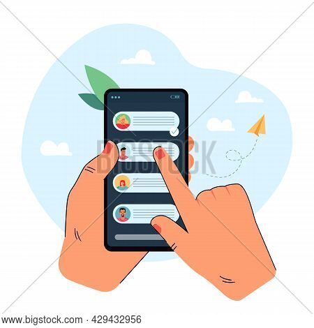 Hand Holding Mobile Phone With Chat Messages On Screen. Finger Tapping Telephone Screen Flat Vector