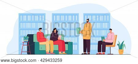 People Reading Books In Library Flat Vector Illustration. Woman And Men Learning, Sitting On Sofa, S