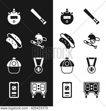 Set Baseball Bat With Ball, Hat, Hotdog Sandwich, Stopwatch, Cap, Medal Baseball, Mechanical Scorebo