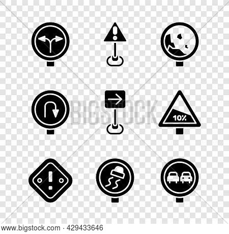 Set Fork In The Road, Exclamation Mark Triangle, Road Warning Rockfall, Slippery Traffic, No Overtak