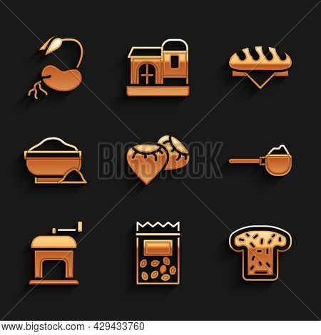 Set Seed, Pack Full Of Seeds Of Plant, Bread Toast, Measuring Cup With Flour, Manual Coffee Grinder,