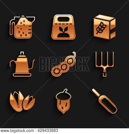 Set Green Peas, Acorn, Oak Nut, Seed, Scoop Flour, Garden Pitchfork, Pistachio Nuts, Watering Can, F
