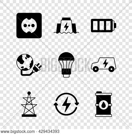 Set Electrical Outlet, Hydroelectric Dam, Battery, Tower, Recharging, Bio Fuel Barrel, Global Energy