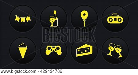 Set Ice Cream In Waffle Cone, Home Stereo With Two Speakers, Gamepad, Piece Of Cake, Balloon Ribbon,