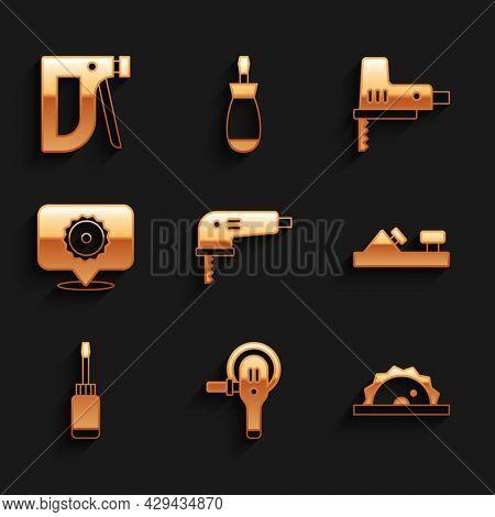 Set Electric Jigsaw, Angle Grinder, Circular, Wood Plane Tool, Screwdriver, Circular Blade, And Cons