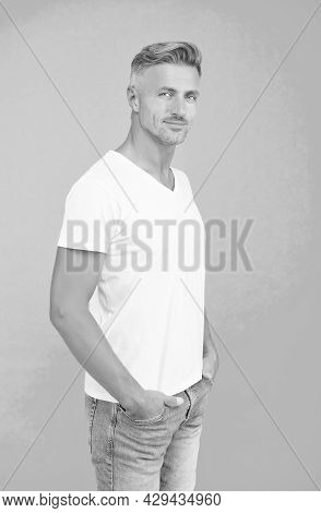 Used To Look Perfect. Mens Beauty And Health. Portrait Of Mature Man. Well Groomed Guy In White Shir