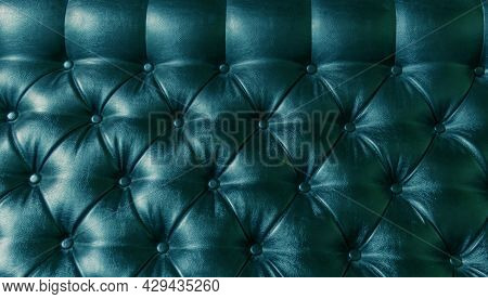 Leather Upholstery Blue Background Sofa Light Shadow
