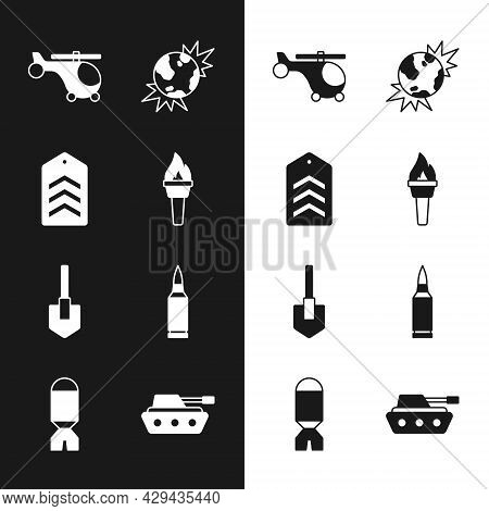 Set Torch Flame, Chevron, Helicopter, Bomb Explosive Planet Earth, Shovel, Bullet, Military Tank And