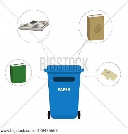 Trash Bin For Paper Vector Illustration Design..