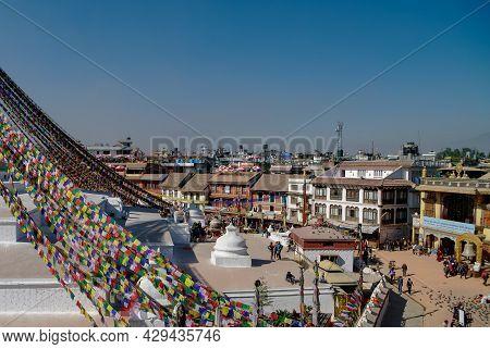Kathmandu, Nepal - December 29, 2011:  Street Around Stupa In Boudhanath Stupa (bodnath Stupa) Templ
