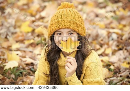 Seasonal Weather. Childhood Happiness. Beauty Of Fall Nature. Happy Kid Wear Sweater And Hat. Teen G