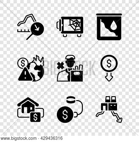 Set Global Economic Crisis, Safe, Drop In Crude Oil Price, Hanging Sign With Sale, Debt Ball Chained