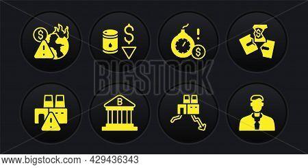 Set Shutdown Of Factory, Tearing Money Banknote, Bank Building, Money Bomb Dollar Crisis, Drop Crude