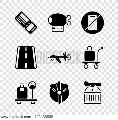 Set Airline Ticket, Airship, No Cell Phone, Scale With Suitcase, Plane Propeller, Airport Runway And