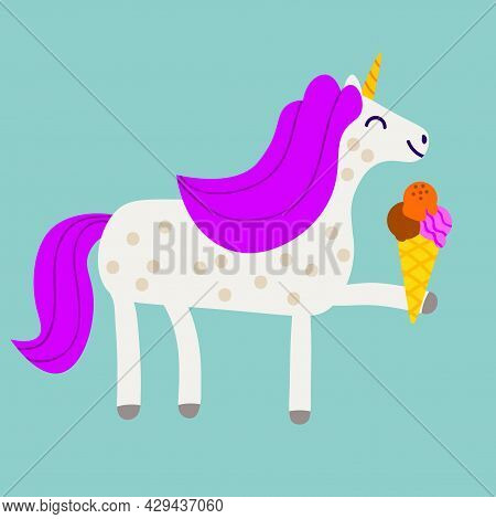 Cute Happy Unicorn With Ice Cream In Flat Childlike Style Isolated On Blue Background. Fantasy Card,