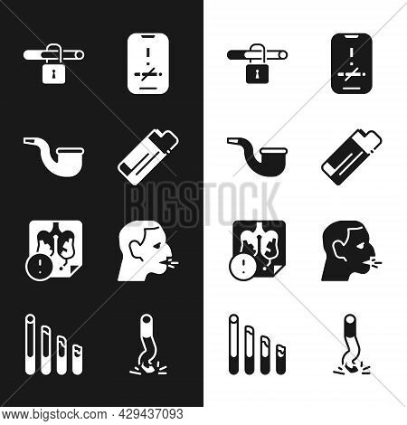 Set Lighter, No Pipe Smoking, Disease Lungs, Man Coughing, Cigarette Butt And Smoking Cigarette Icon