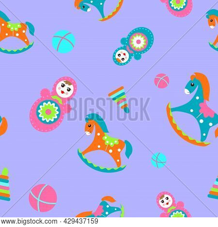 Seamless Children's Pattern With Rocking Horses, Tumbler Dolls And Balls On A Purple Background