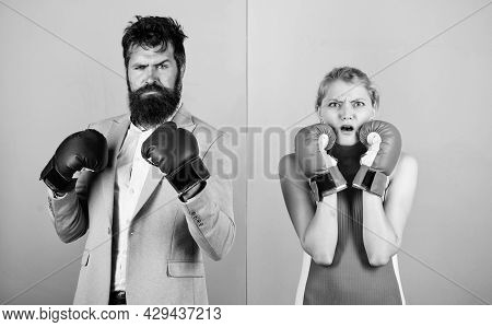 Conflict Concept. Man And Woman Boxing Fight. Family Life. Complicated Relationships. Couple Romanti