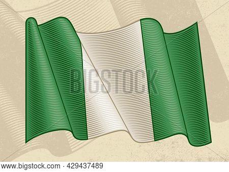 Vintage flag of Nigeria in woodcut style
